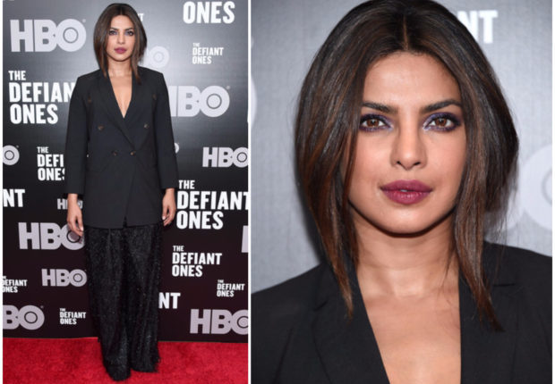 PRIYANKA CHOPRA DAZZLES IN SPARKLY WIDE-LEG TROUSERS AT THE DEFIANT ONES PREMIERE